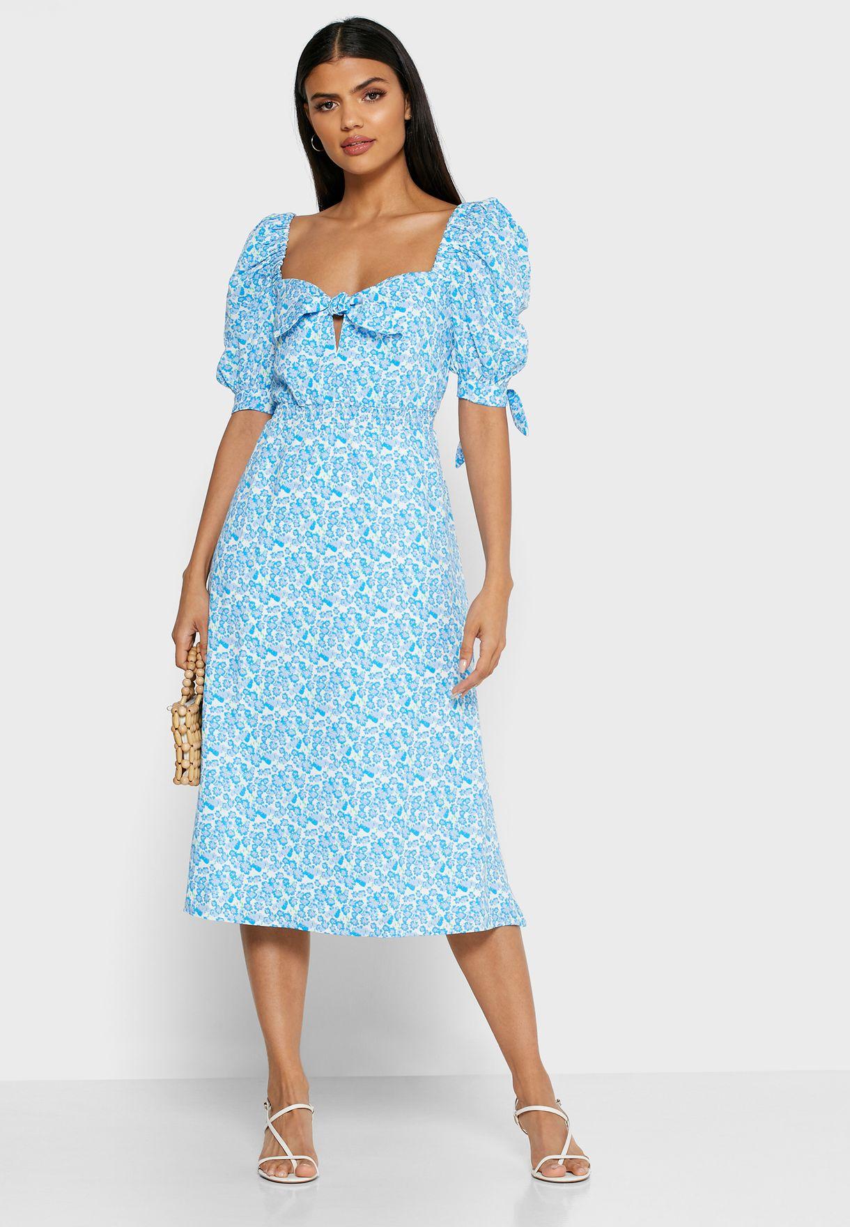 Floral Print Tie Sleeve Dress