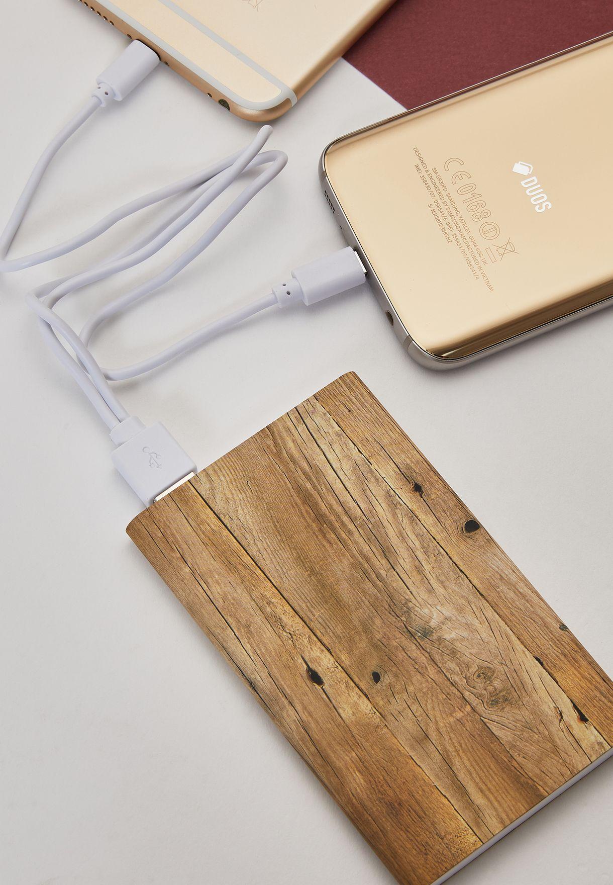 Wood Effect USB Double Charge Power Bank