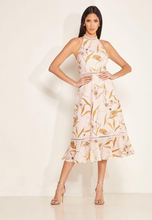 Floxyy Halter Neck Printed Dress