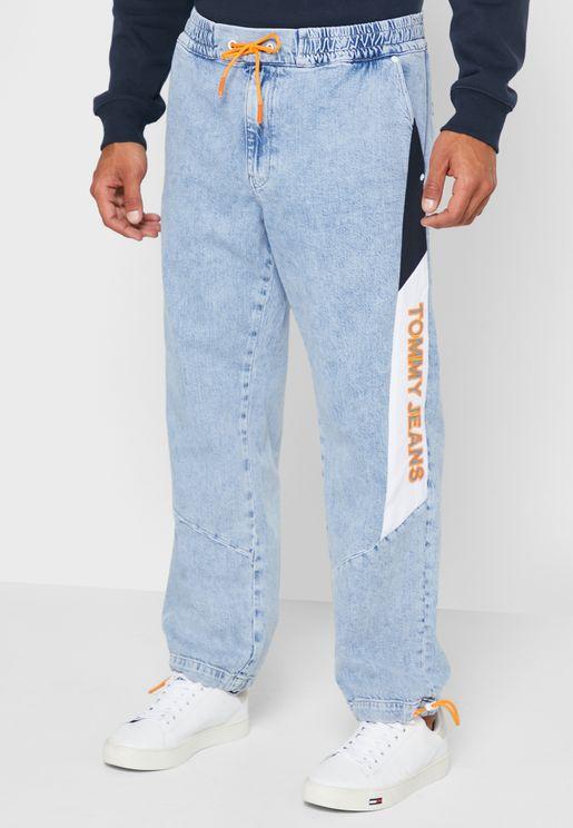 جينز فضفاض بخصر مطاطي