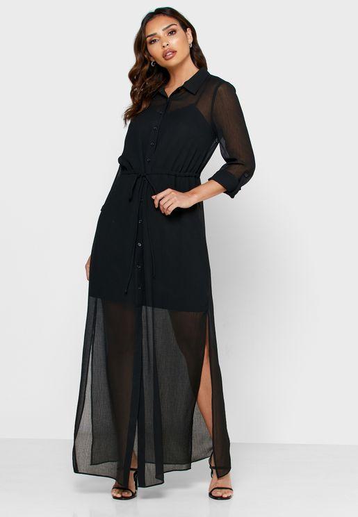 Mesh Roll Sleeve Shirt Dress