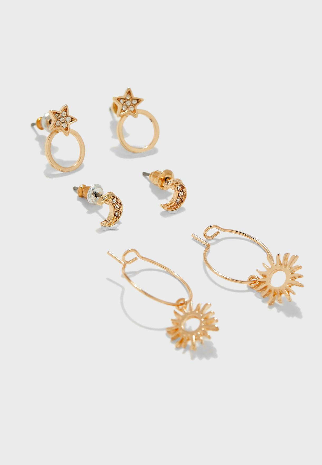 6 Pack Star And Moon Earrings Set