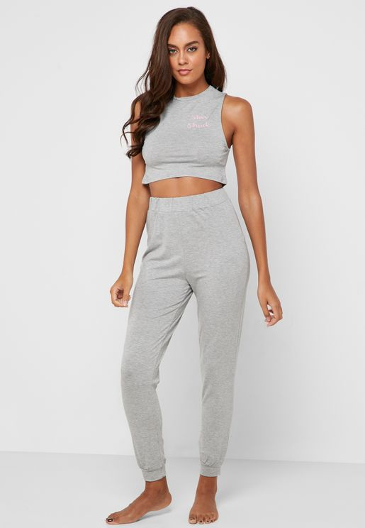 Slogan Crop Top & Pyjama Set