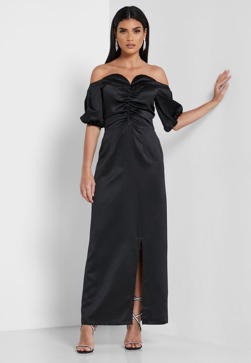 Side Slit Bardot Dress