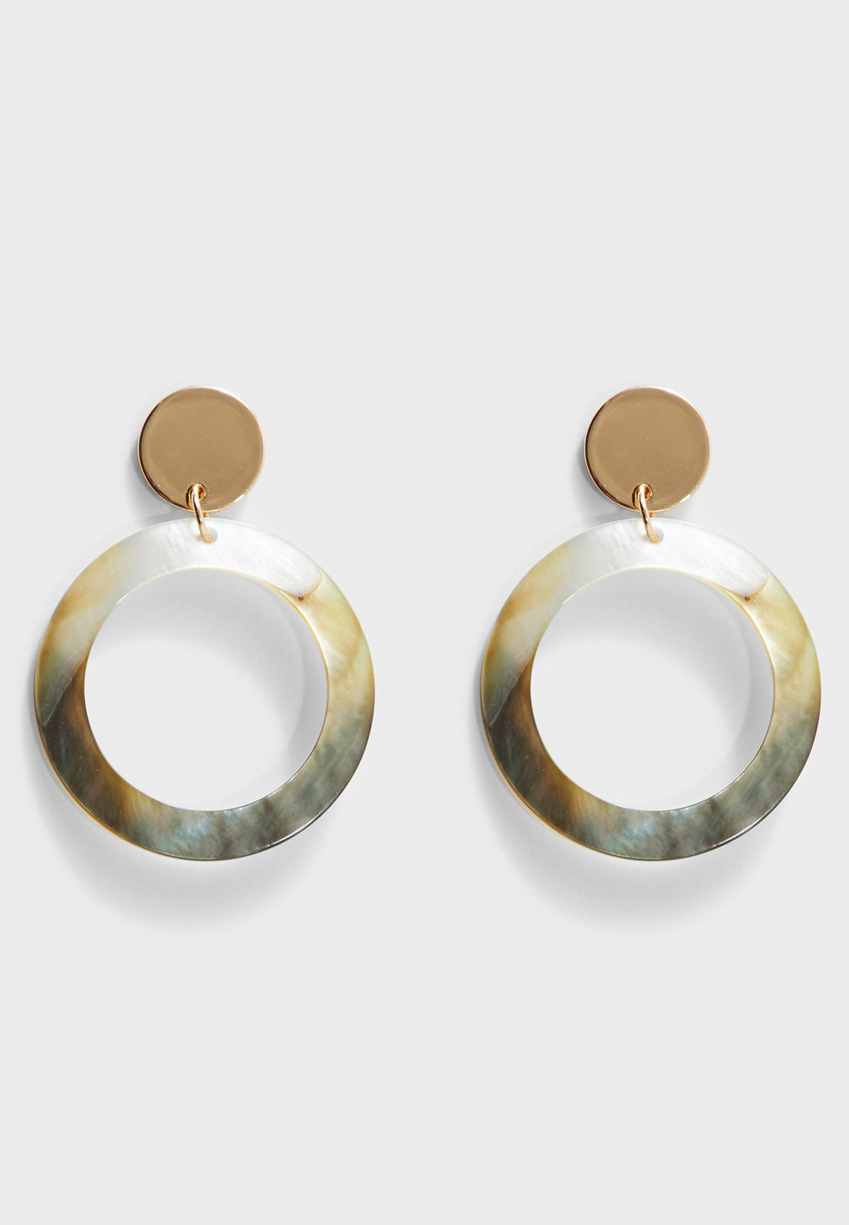 Shell Ring Drop Earrings