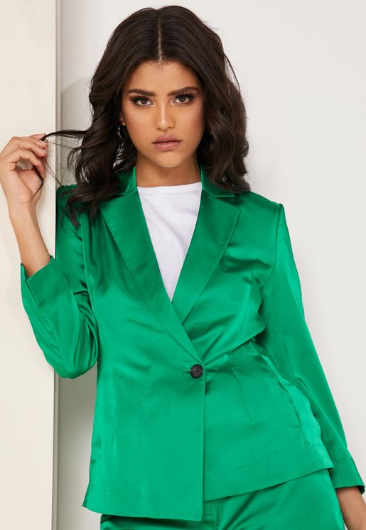 Clea Button Detail Satin Blazer