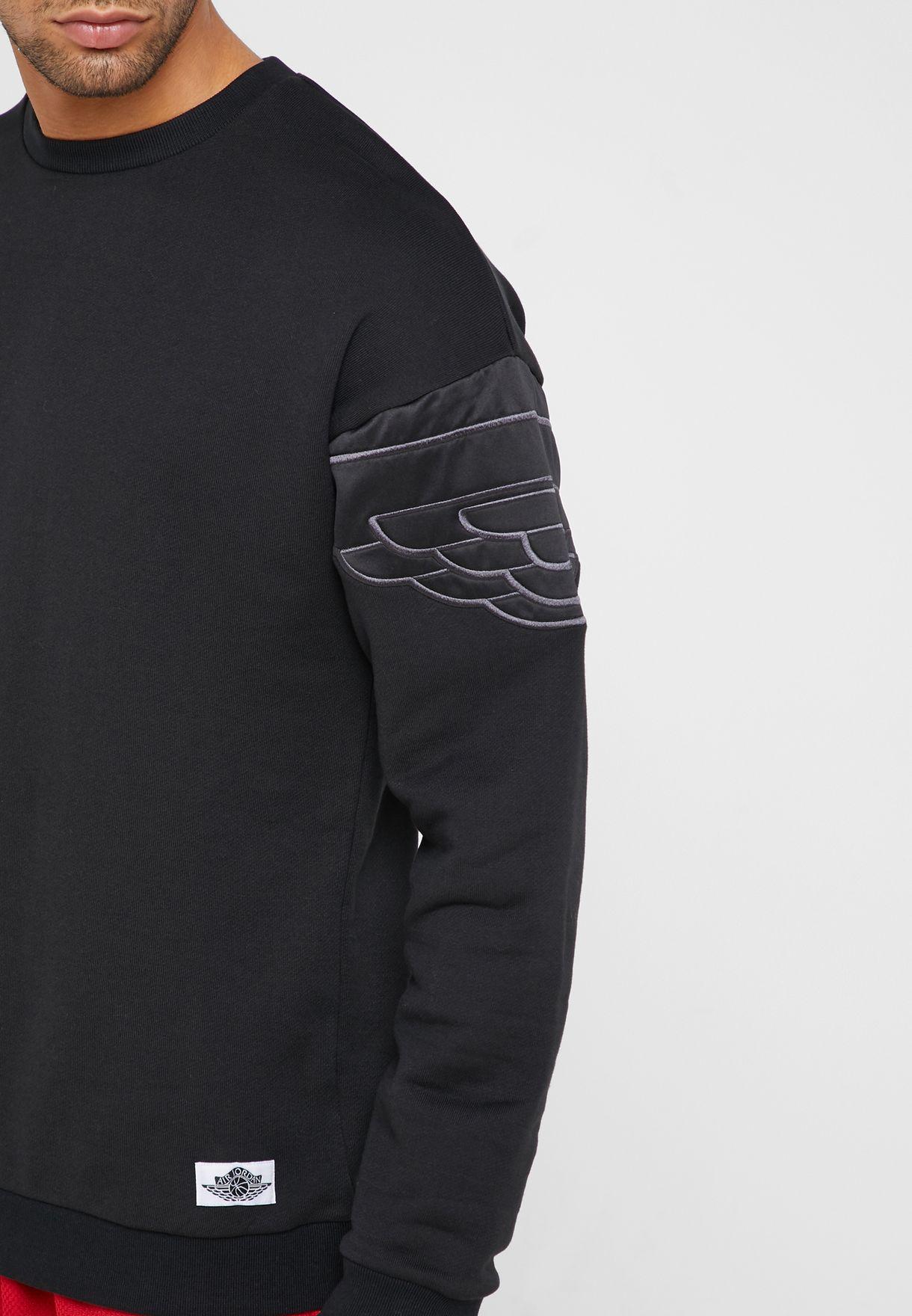 6343e19e0ec Shop Nike black Jordan Wings Classic Sweatshirt AO0426-010 for Men ...