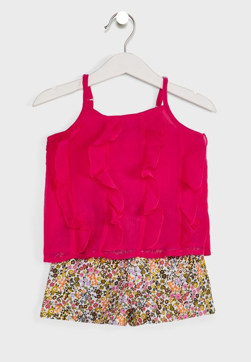 Ruffled Top With Floral Print Shorts