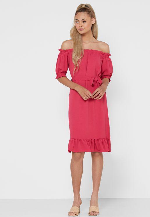 Ruffle Trim Self Tie Bardot Midi Dress