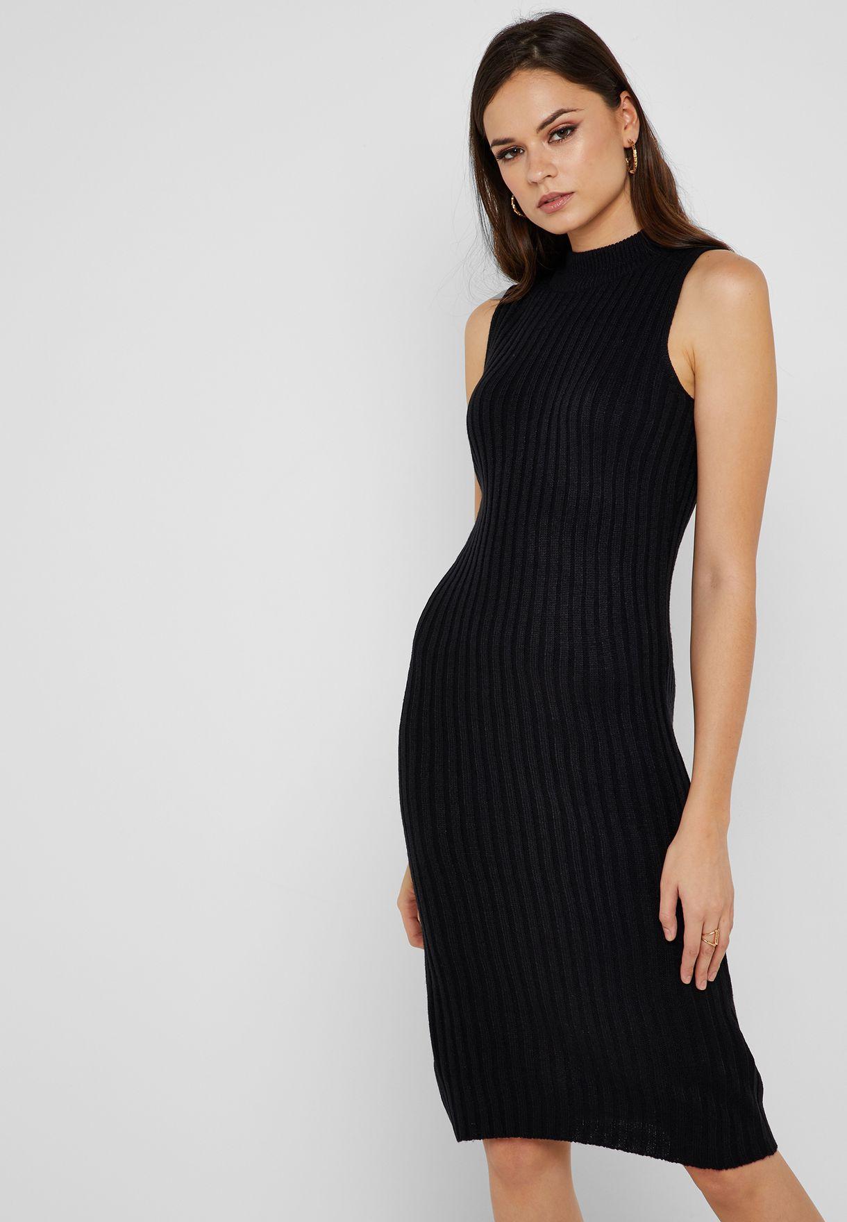 776671b51a014e Shop Ginger black High Neck Ribbed Midi Dress LK-230ANGIE for Women ...