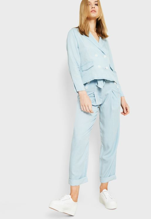 Paperbag Waist Denim Pants