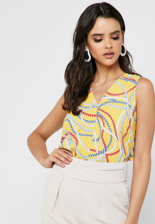 Tie Sleeve Printed Top