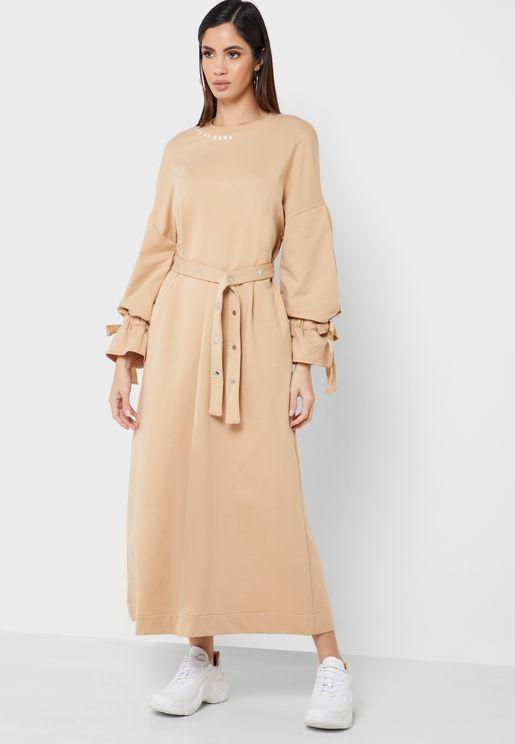 Self Tie Bell Sleeve Maxi Dress