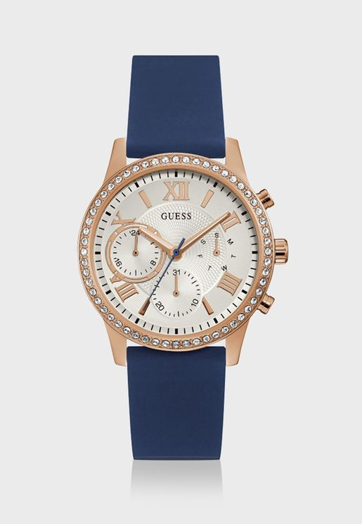 Crystal White Dial Analog Watch