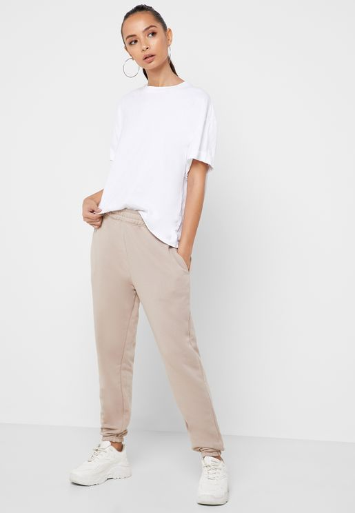 High Waisted Tapered Leg Joggers