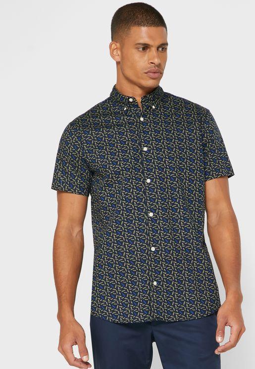 قميص مطبع باكمام قصيرة