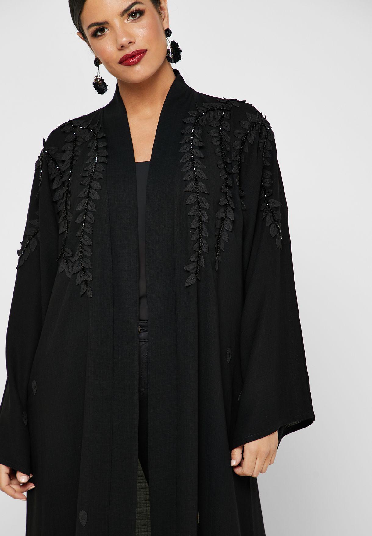 Leaf Applique Beaded Abaya