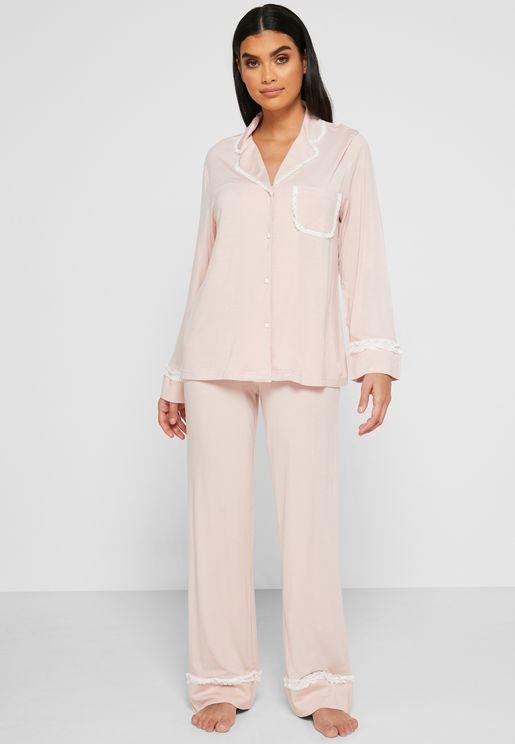 Lace Trim Shirt Pyjama Set