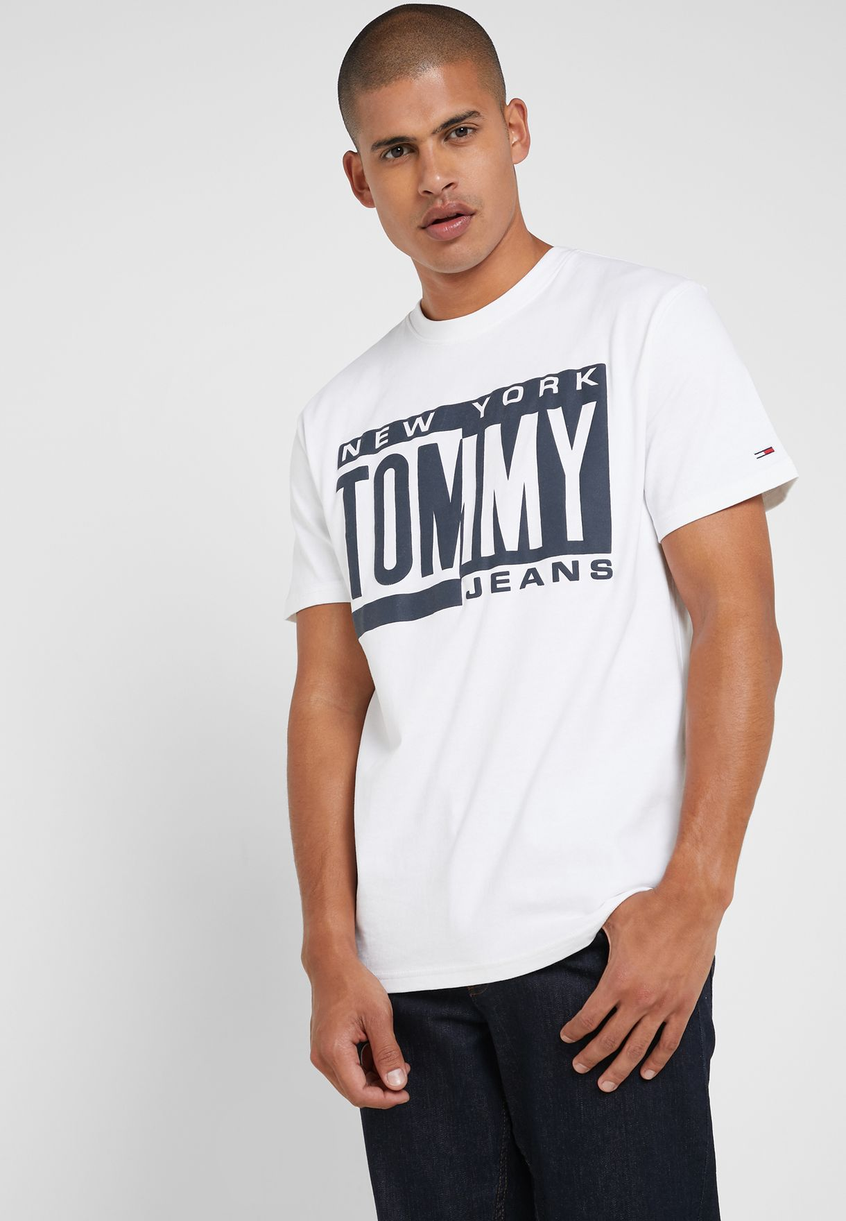 ce1d04c8 Shop Tommy Jeans white Box Logo Crew Neck T-Shirt DM0DM06078-100 for ...