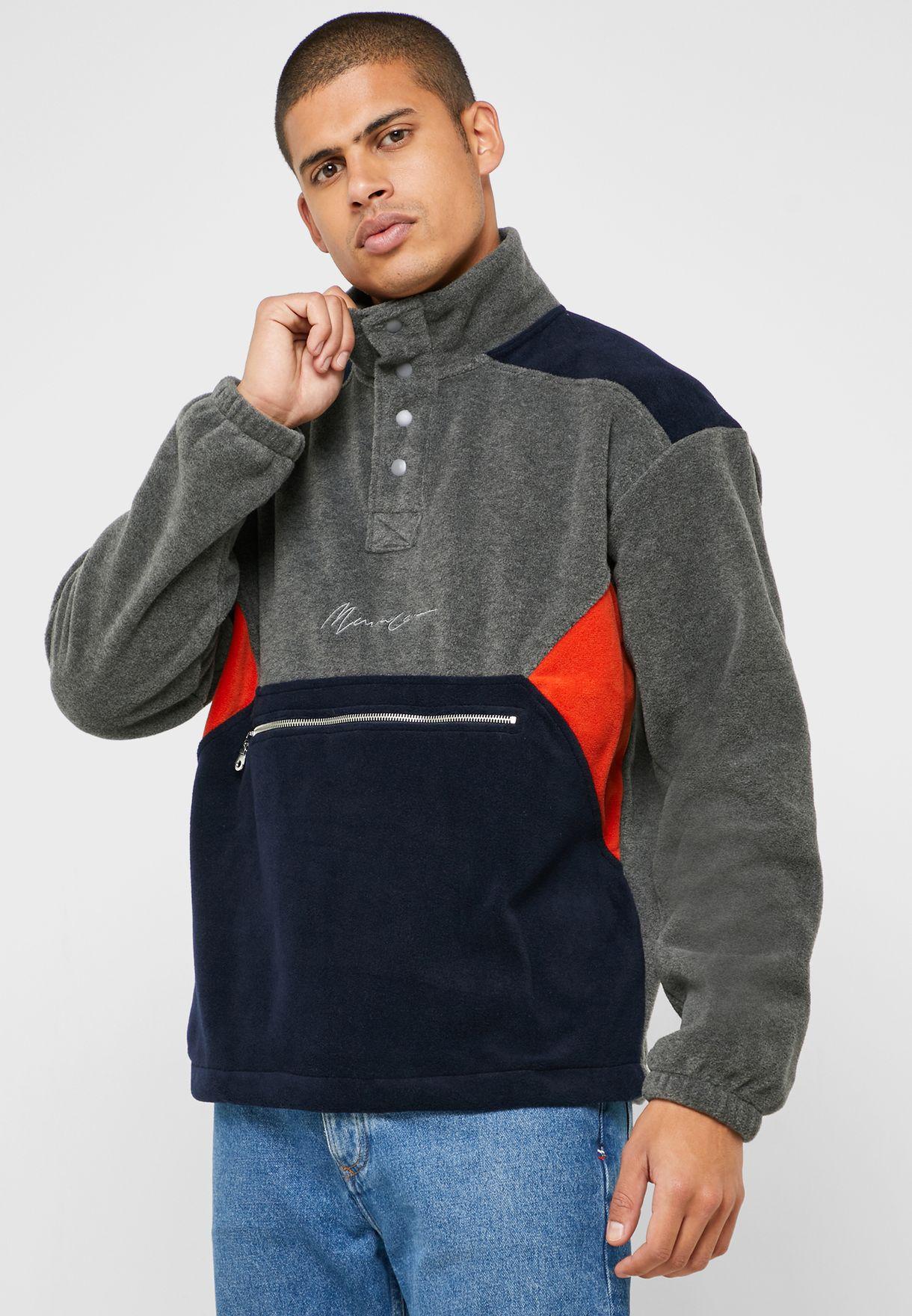 Color Block Funnel Neck Sweatshirt