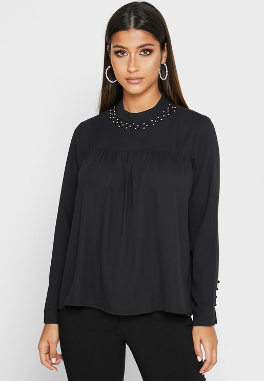 Embellished Neck Top