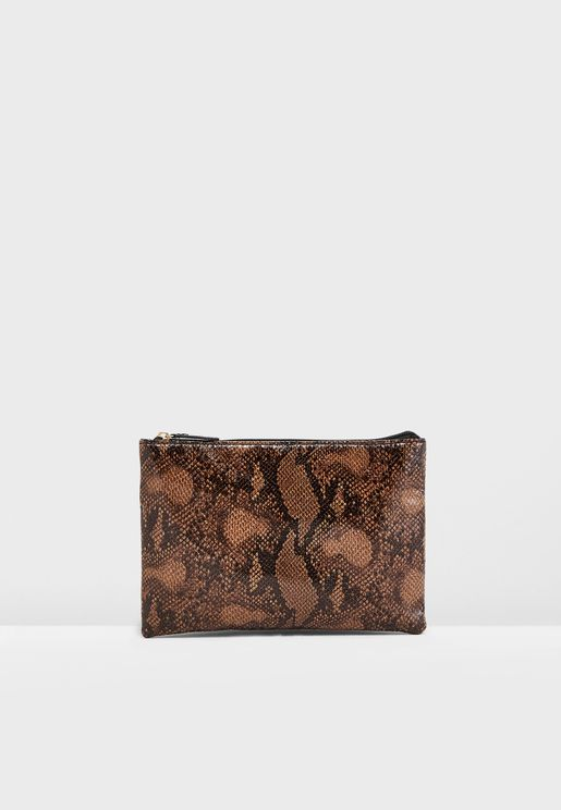 Zip Top Clutch Bag In Snake Print