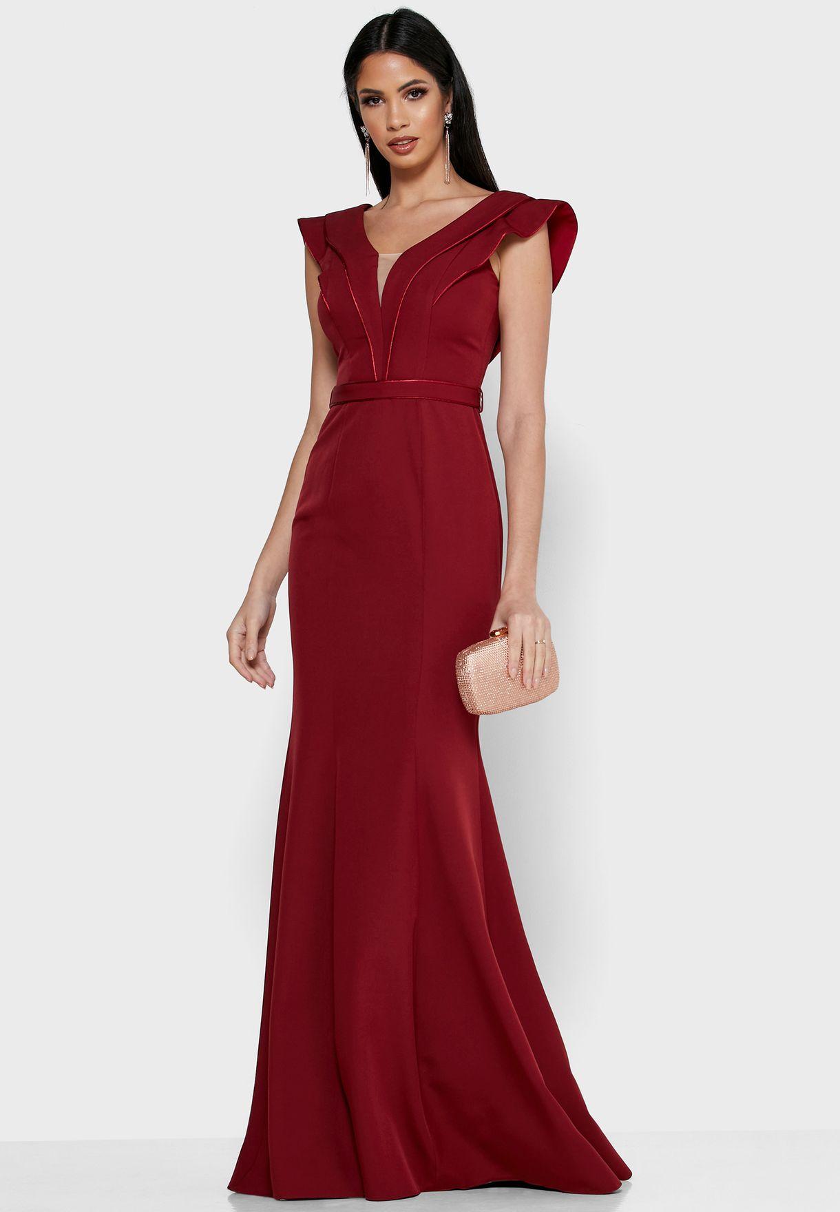 فستان ماكسي متعدد الطبقات