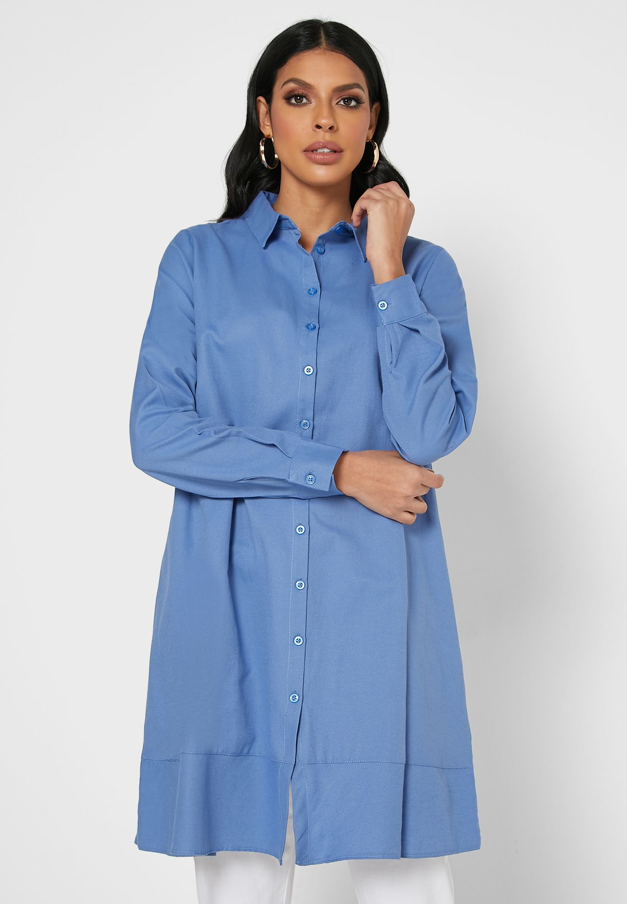 Button Down Tunic Top