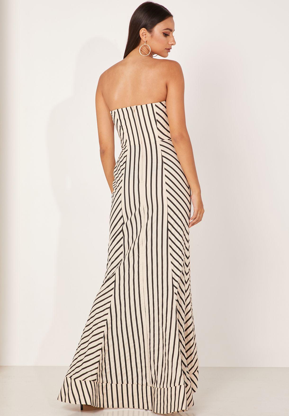 Striped Bardot Maxi Gown Dress