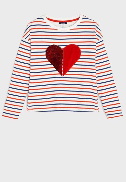 Youth Striped Sweatshirt