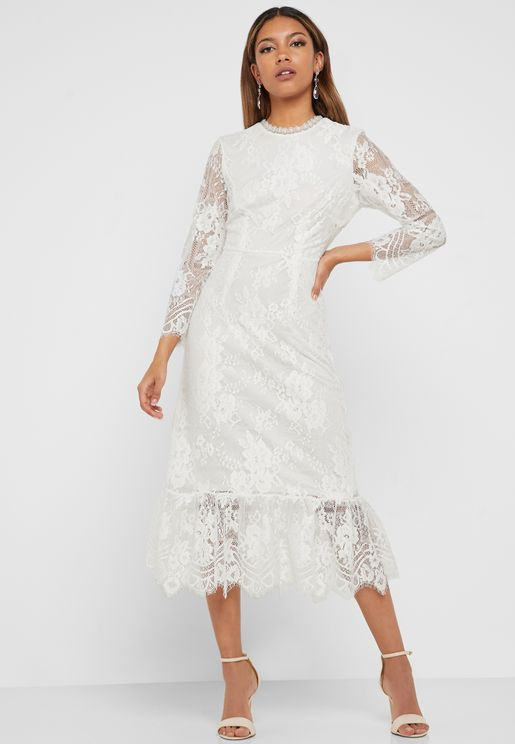 Sheer Sleeve Lace Dress