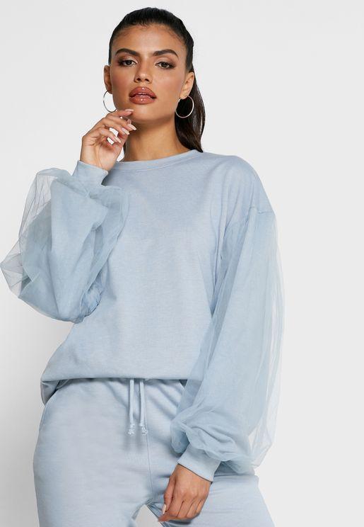 Mesh Sleeve Sweater