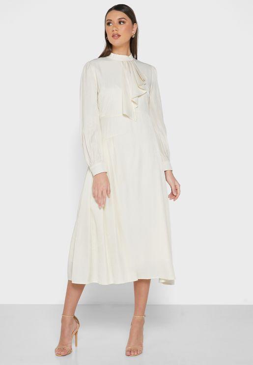 Side Ruffle Pleated Dress