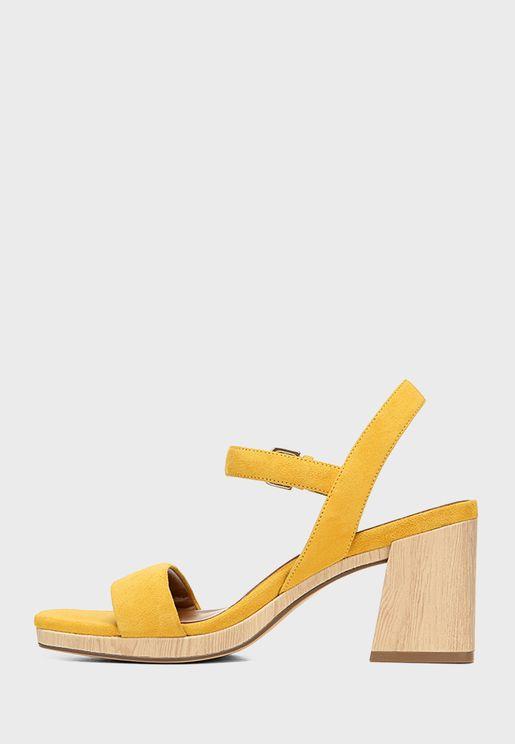 Mid Heel Buckle Sandals