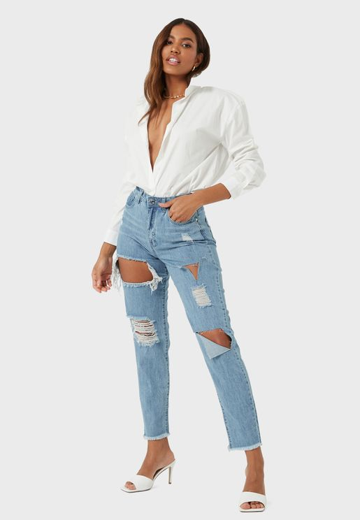Riot High Rise Slit Rip Mom Jeans