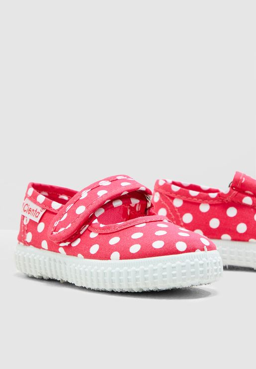 Infant Polka Dot Velcro Slip Ons