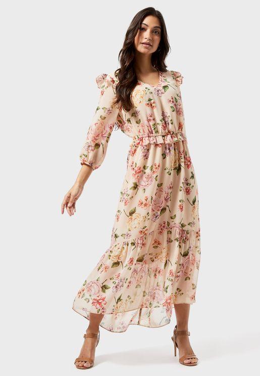 فستان بكشكش وطبعة ورود