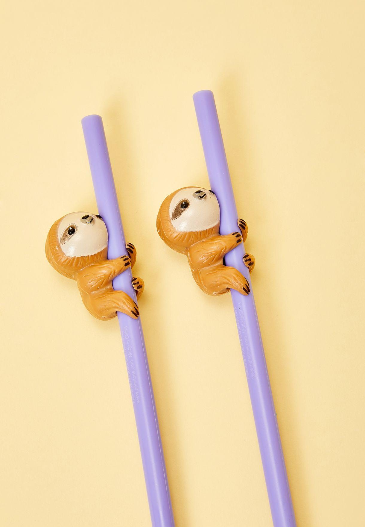 Set of 2 Sloth Straws