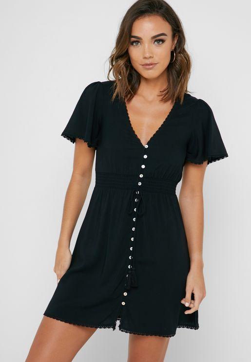 Button-Front Ruched Waist Dress