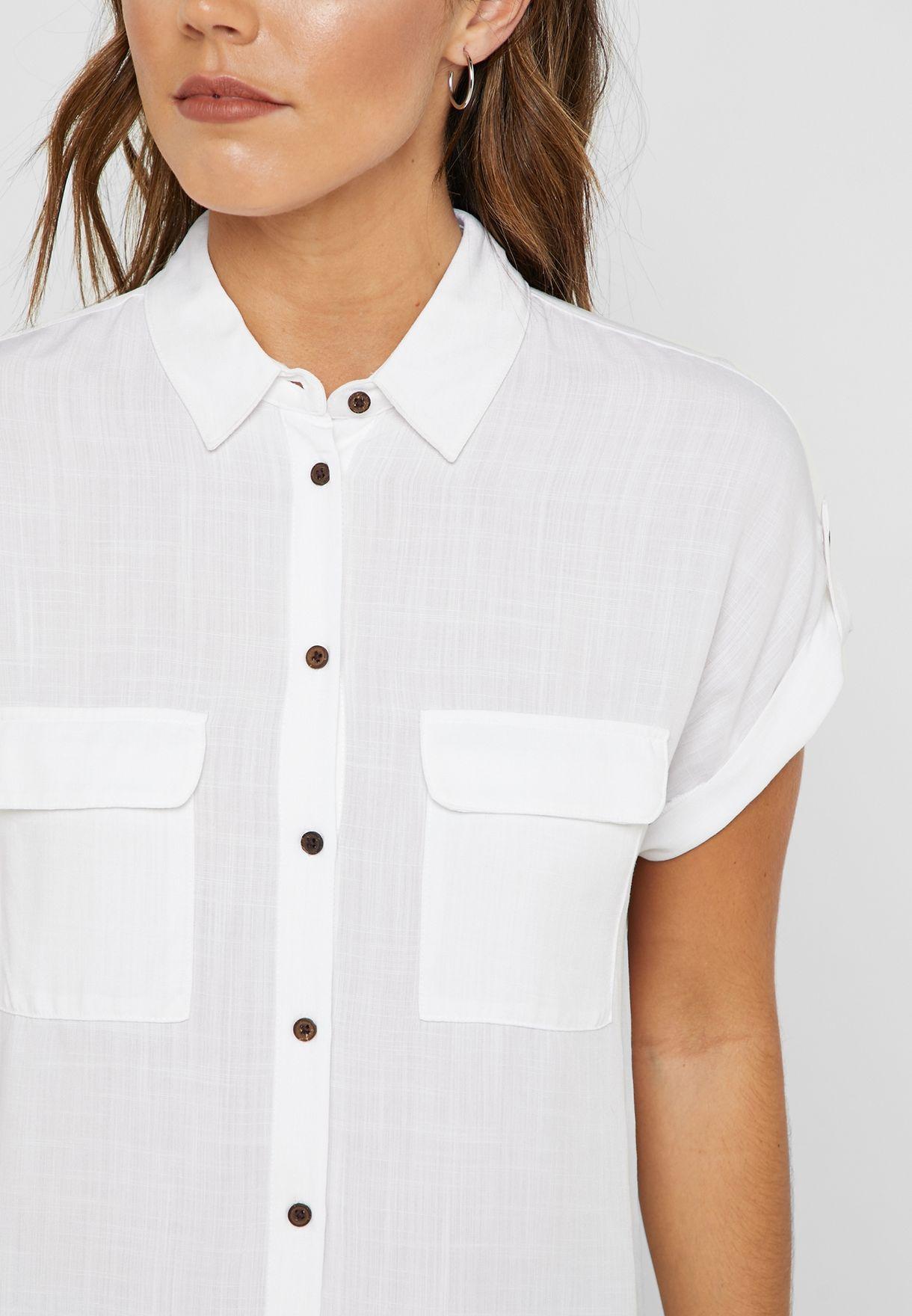 Pocket Detail Roll Sleeve Shirt