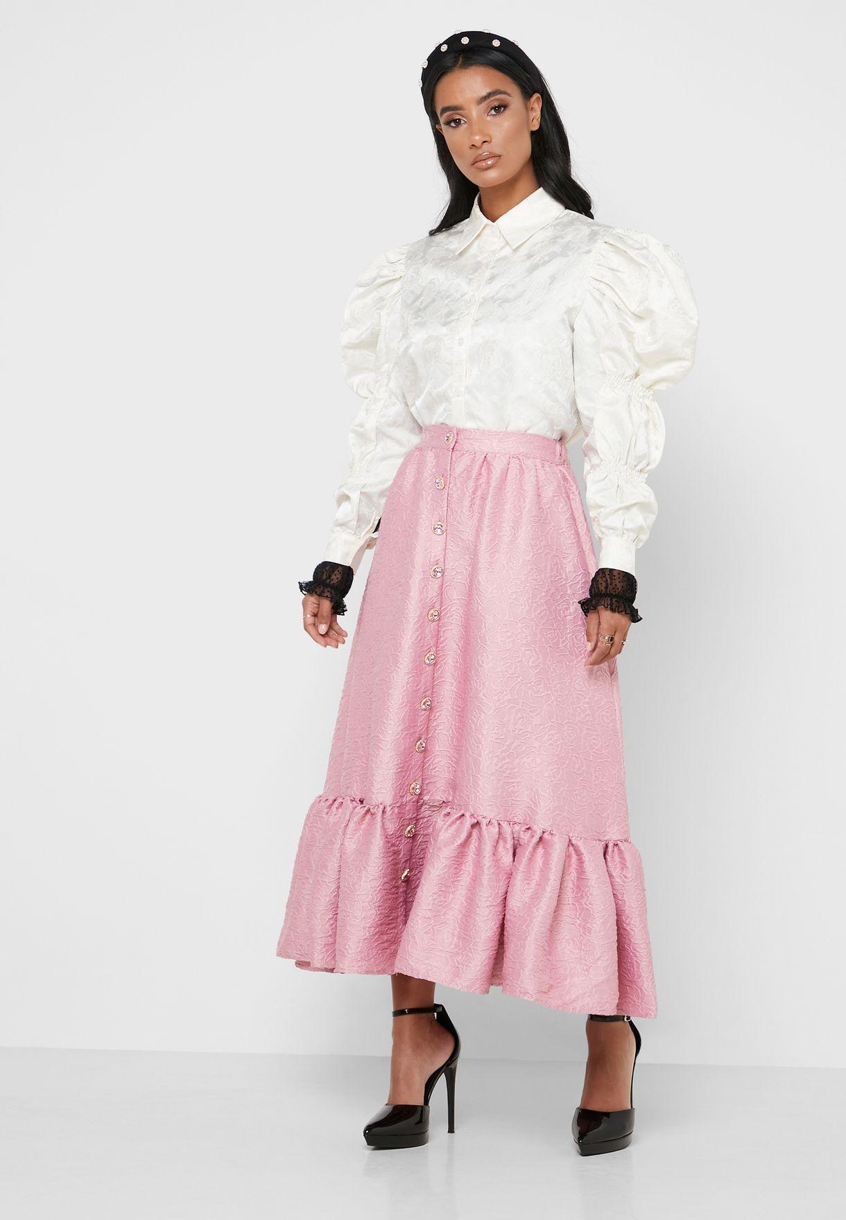 Ruffle Hem Jacquard Skirt