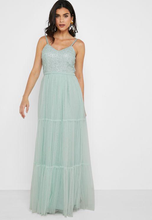 فستان بحمالات مزين بترتر