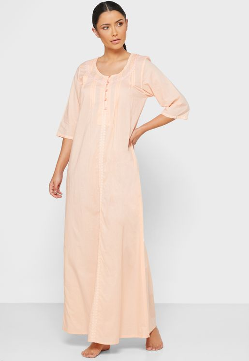 Cotton Solid Nightwear with Center Front Buttons