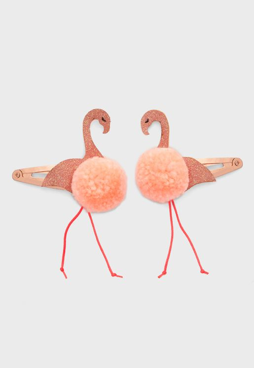 Kids 2 Pack Flamingo Hair Clips
