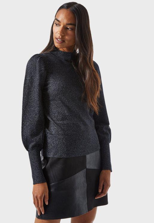 High Neck Puff Sleeve Sweater