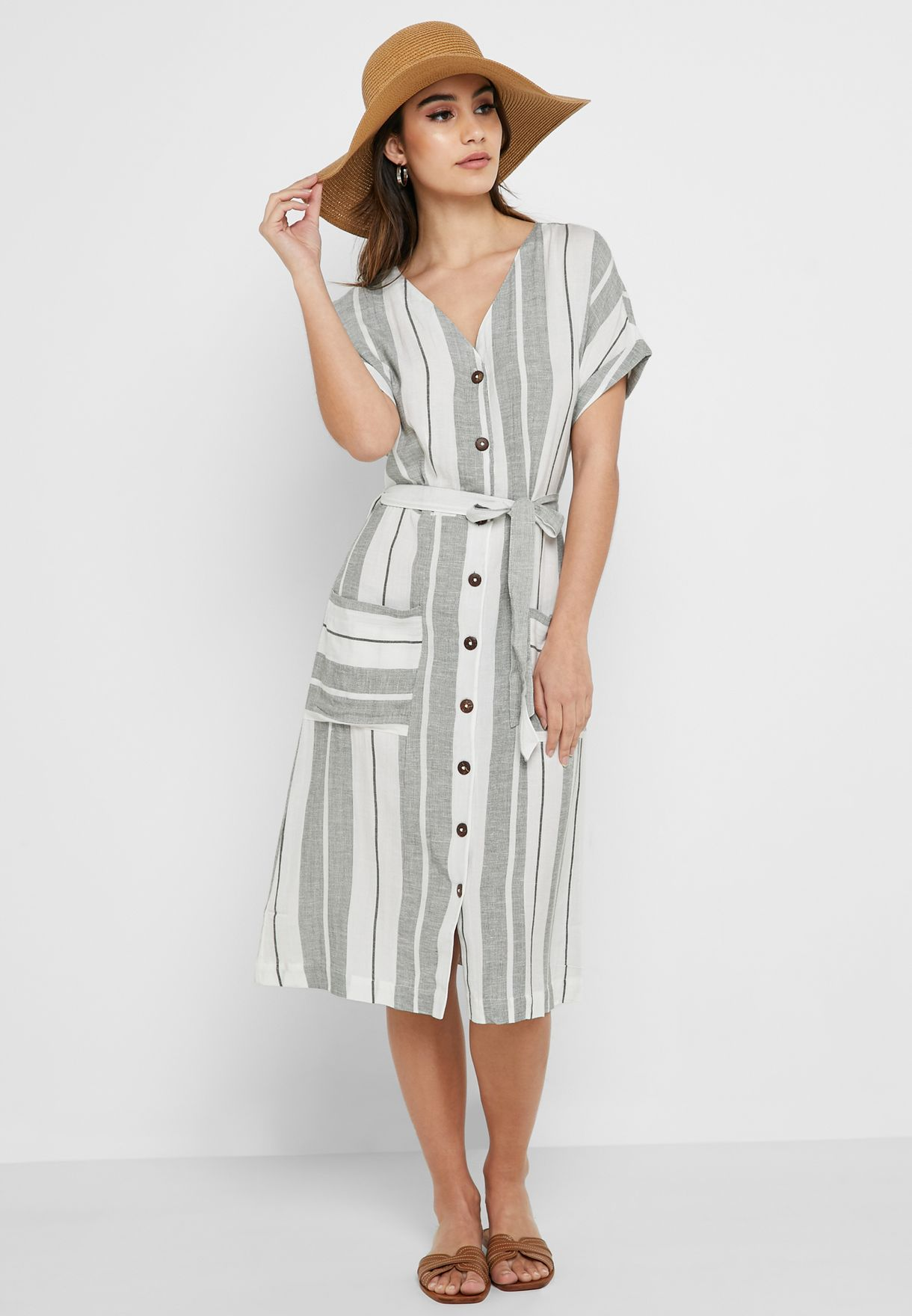 88c65710 Shop Dorothy Perkins white Button Down Striped Dress 67320543 for ...