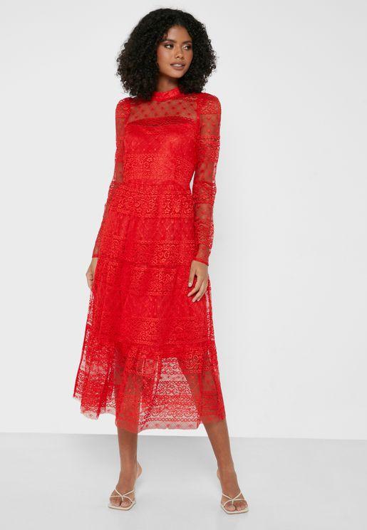 Lace Detail Maxi Tier Dress