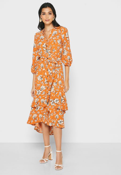 Tierred Floral Print Button Down  Dress