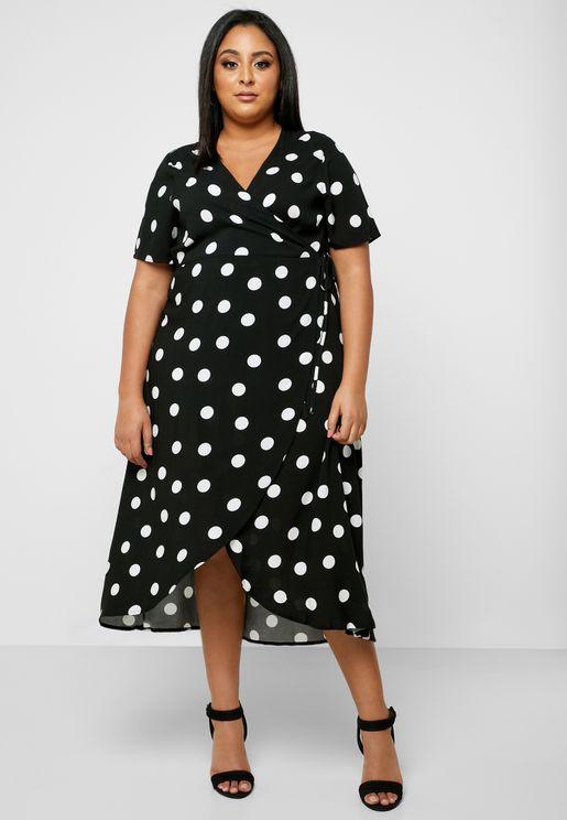 Polka Dot Wrap Midi Dress