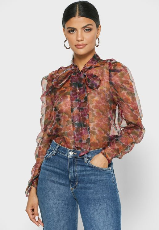 Tie Neck Puff Sleeve Printed Shirt